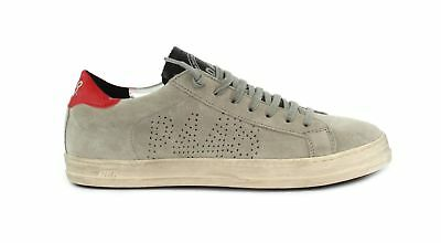 Clothing, Shoes & Accessories P448 A8john Sneakers Uomo In Pelle Scamosciata Grigia Con Inserto Rosso Athletic Shoes