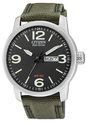 Brand New Boxed Citizen Mens Eco-Drive Stainless Steel Military Watch BM8470-11E