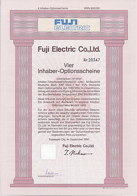 Fuji Electric Co., Ltd. Kawasaki-City 1990 Inhaber-Optionsschein 4er