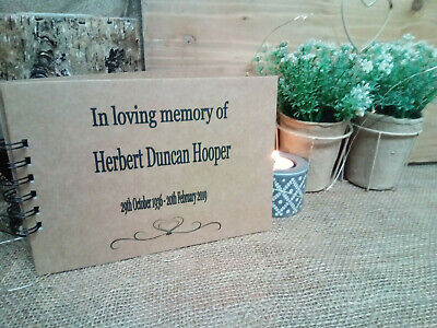 A5 Personalised Memory Condolence Book for Funeral, Celebration of Life