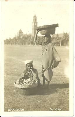 BANANA SELLERS, BOMBAY, INDIA, (REAL PHOTO SEPIA POSTCARD) c1920