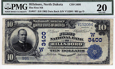 Hillsboro, North Dakota  The First NB $10 1902 DB CH# 3400 PMG 20