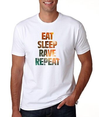 Mens T Shirt Eat Sleep Rave Repeat Music Novelty Tee New Gym Dance Graphic