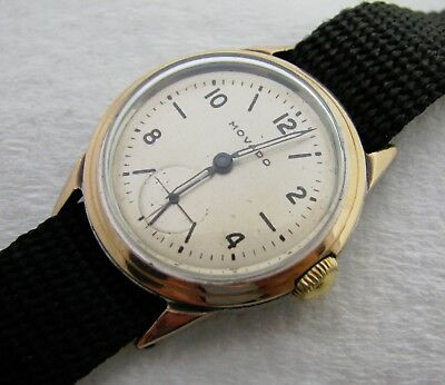 Vintage Mens Art Deco Movado Two Tone Rose Gold & Stainless Wristwatch Watch