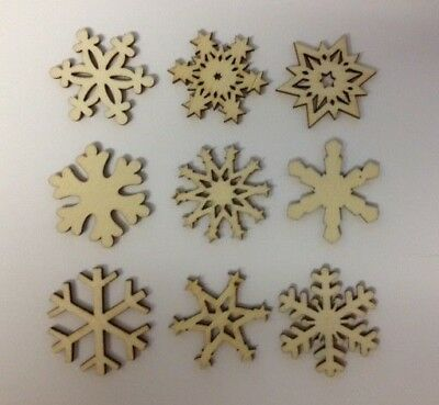 9 Natural Wooden Snowflakes Christmas Card Making Scrapbook Craft Embellishments