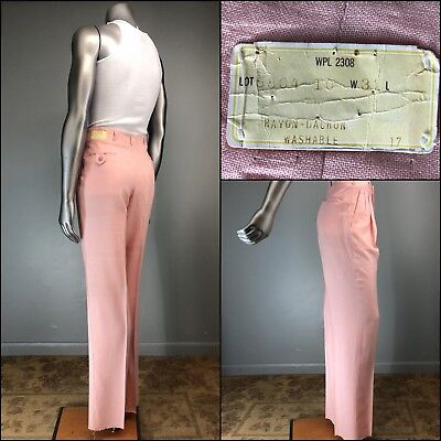 Vtg 40s 50s Pink Pants Woven Washable Rayon Drape Hollywood Rockabilly 31 NOS