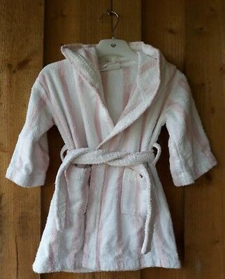 Little white company 18-24 months Dressing Gown Towelling Pink White Stripe