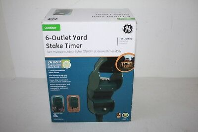 Ge 6 Outlet Outdoor Weather Proof Yard Stake Timer 24 Hour Programmable New