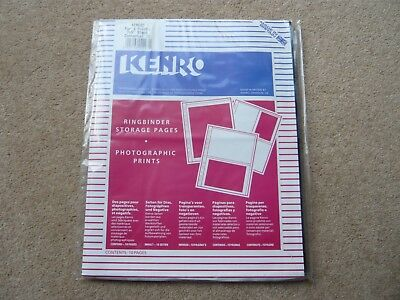 "Kenro Ringbinder Storage Sheets For  7"" X 5"" Prints - 4 Per Page Pack Of 10 -New"