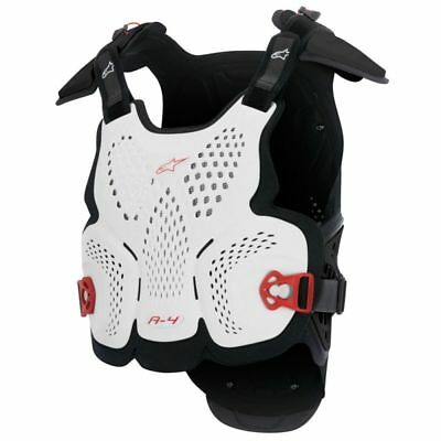 ALPINESTARS MX Off-Road A-4 Chest Protector Body Armor Roost Guard XS/SM Wht/Blk