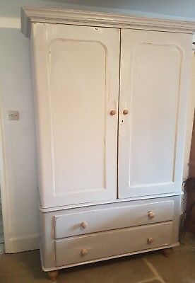 Pine painted wardrobe antique early victorian
