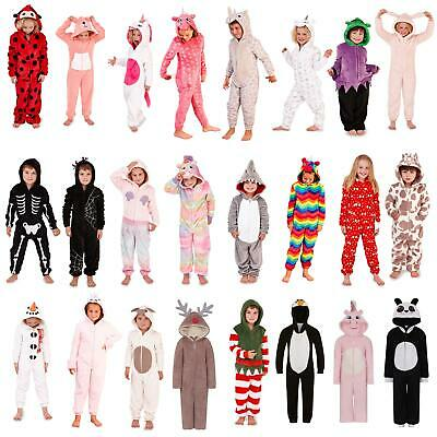 8e9661bd5b08 GIRLS BOYS ANIMAL Fleece All In One Kids Outfit Childrens Costume ...