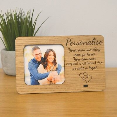 Personalised Oak Wooden Photo Frame - Custom Text Wording Bespoke Picture Frame