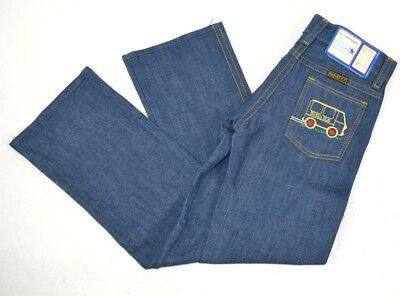 Vintage Maverick Girls Dark Blue Jeans w/ School Bus & Flowers on Pocket 6 Slim