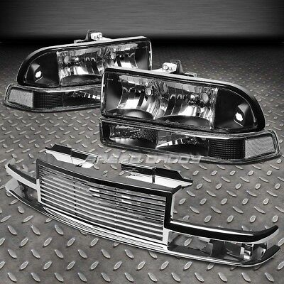 Black Housing Clear Headlight+Signal+2Pc Chrome Front Grill For 98-04 S10/blazer