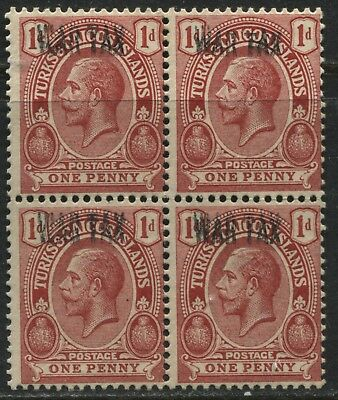 Turks & Caicos KGV 1917 1d War Tax Double Overprint in a block of 4 mint o.g.