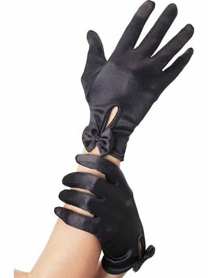SHORT Black GLOVES with bow ladies 50s pinup burlesque showgirl costume smiffys