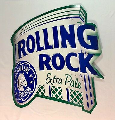 "2002 Rolling Rock Extra Pale Embossed Metal Beer Sign Die Cut Edge 23"" x 21"""