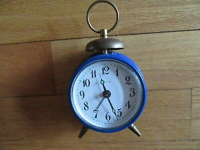 9I/rare Blessing Clock/alarm/small/blue/metal/vintage/west Germany/small!