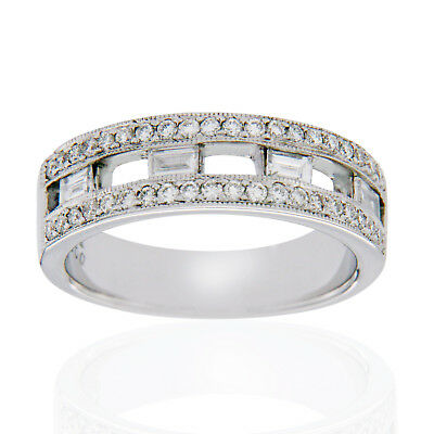 18K White Gold 0.67 Ct Diamonds Bridal Wedding Band Ring Size 6.5 »NP17