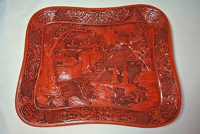 """Vtg 14"""" x 11"""" Japanese Red Cinnabar Lacquer Tray Figures Bridge Town water Scene"""