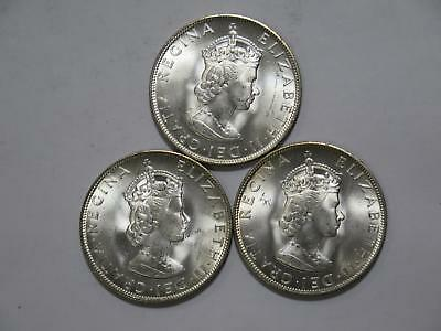 3- Bermuda 1964 Crown Qeii Lion & Shield Silver Type Unc Coin Collection Lot #t