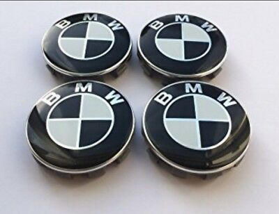 Black & White BMW Alloy Wheel Centre Hub Caps 1,3,5,6,7,M, E, X / 68mm