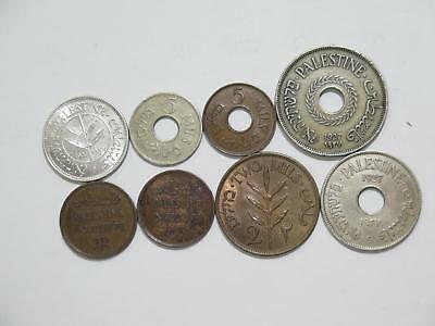 Palestine 1 2 5 10 20 50 Mil Mils Hebrew Mixed Type World Coin Collection Lot