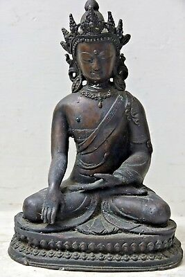 Genuine Old Bronze Seated Asian Figure - Chinese / Indian Bronze Interest - Rare