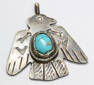 Vintage Navajo Sterling Silver Old Pawn Stamped Turquoise Thunderbird Pendant