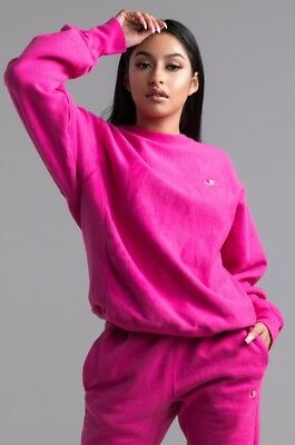 1d13ce32a UO Champion Reverse Weave Rare Hot Pink Crew Pigment Dyed Sweatshirt Size S