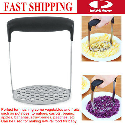 Stainless Steel Wide Grip Metal Potato Masher Heavy Duty Stainless Steel Rice AU