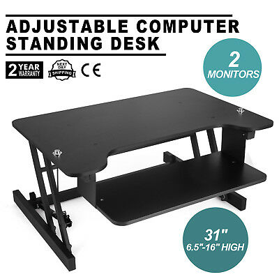 Ergonomic Adjustable Height Stand Up Desk Lift Rising Office Home Computer