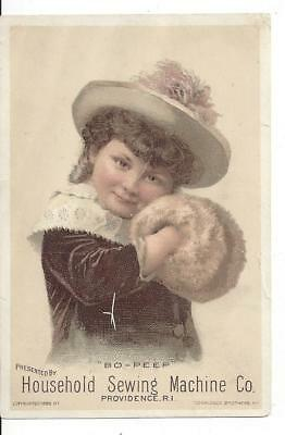 Household Sewing Machine Co. Victorian Trade Card Providence R.I. Bo Peep