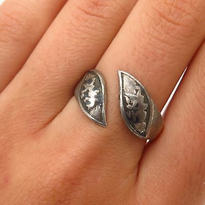 Vintage Siam 925 Sterling Silver Hindu Theme Adjustable Ring Size 8.5