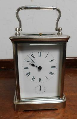 silvered repeating alarm carriage clock