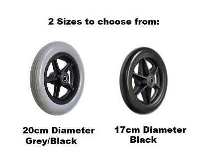 2 x Solid Rubber Wheel Plastic Rim Scooter Wheelchair Cart Replacement 17cm 20cm