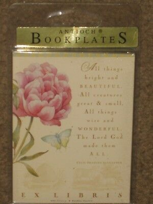 "New pack of 12 Antioch Publishing Self-Stick Bookplates ""All Things Bright & Bea"