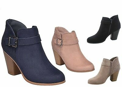 NEW Women's Buckle Zip Round Toe Chunky High Heel Ankle Booties Size 5.5 - 11