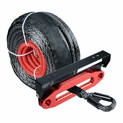 """3/8'' 95' Synthetic Winch Rope 20500lbs+10"""" Hawse Fairlead+Flip-Up License Plate"""
