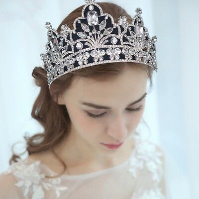 9cm Large Full Crystal Wedding Bridal Party Pageant Prom Tiara Crown