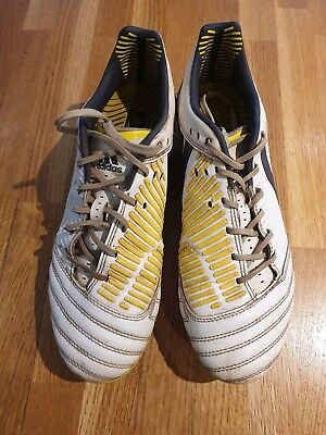 Adidas Predator Incurza XT SG Rugby Football Boots White, Navy & Yellow Size 7