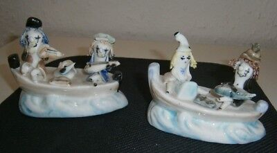 Vintage Ceramic X 2 Musicians Playing On Boat's Figures