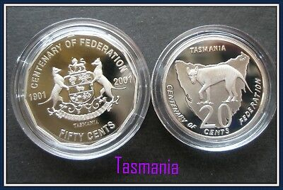 "2001 Centenary of Federation ""Tasmania"" Proof 50c and 20c Student design Tasmani"