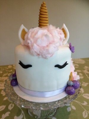 Handmade Edible Unicorn Cake Topper Kit Birthday Christening Baby Shower