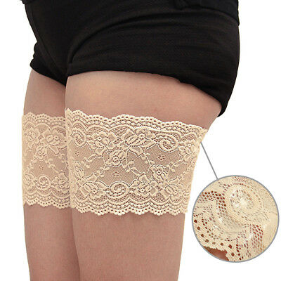 2pcs Women Lace Pocket Elastic Non-slip Anti-Chafing Thigh Bands Thigh Sock