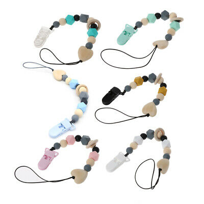 Silicone & Wood Pacifier Clip Wooden Bead Dummy Clip Holder Soother Chains