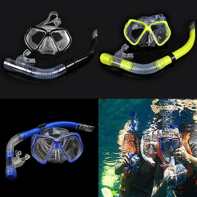 ADULT Snorkel Mask Diving Scuba Snorkeling Swimming Goggles Pipe Set Blue/ Black