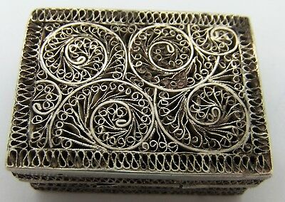 COLONIAL, Chinese solid Silver Vinaigrette. Lovely FILIGREE decoration. c.1870