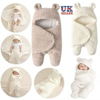 Baby Newborn Soft Fleece Blankets Boys Girls Swaddle Wrap Pram Sleeping Bag Gift